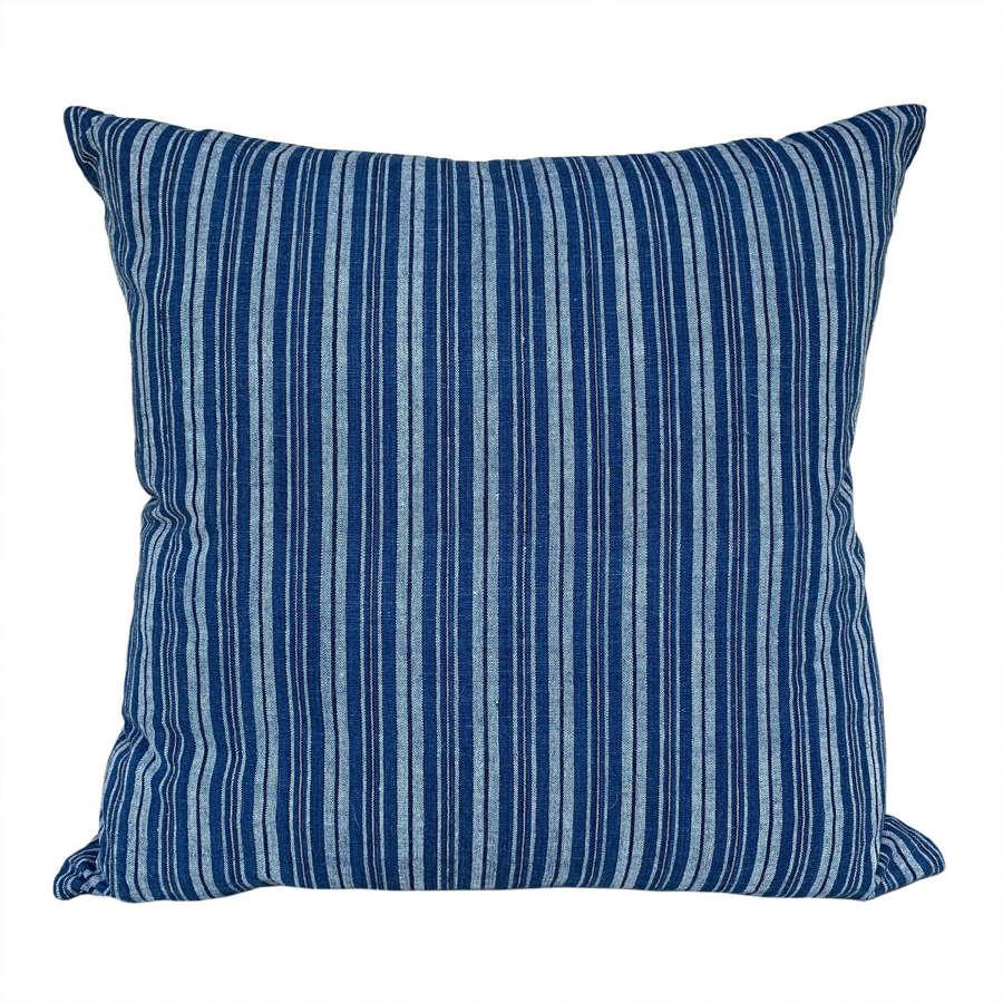 Songjiang cushions, indigo stripe
