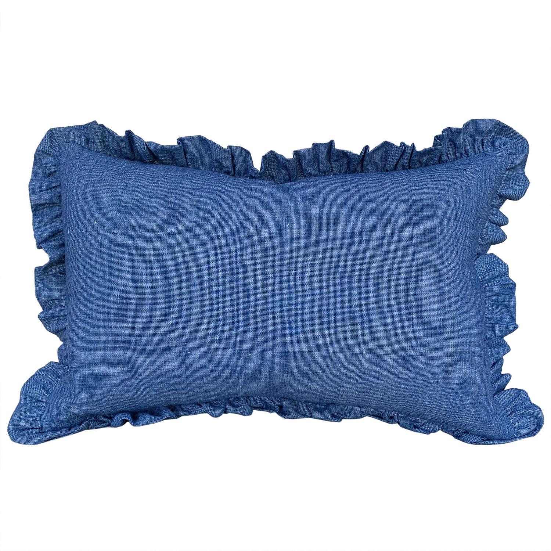 Songjiang indigo cushions with frill trim