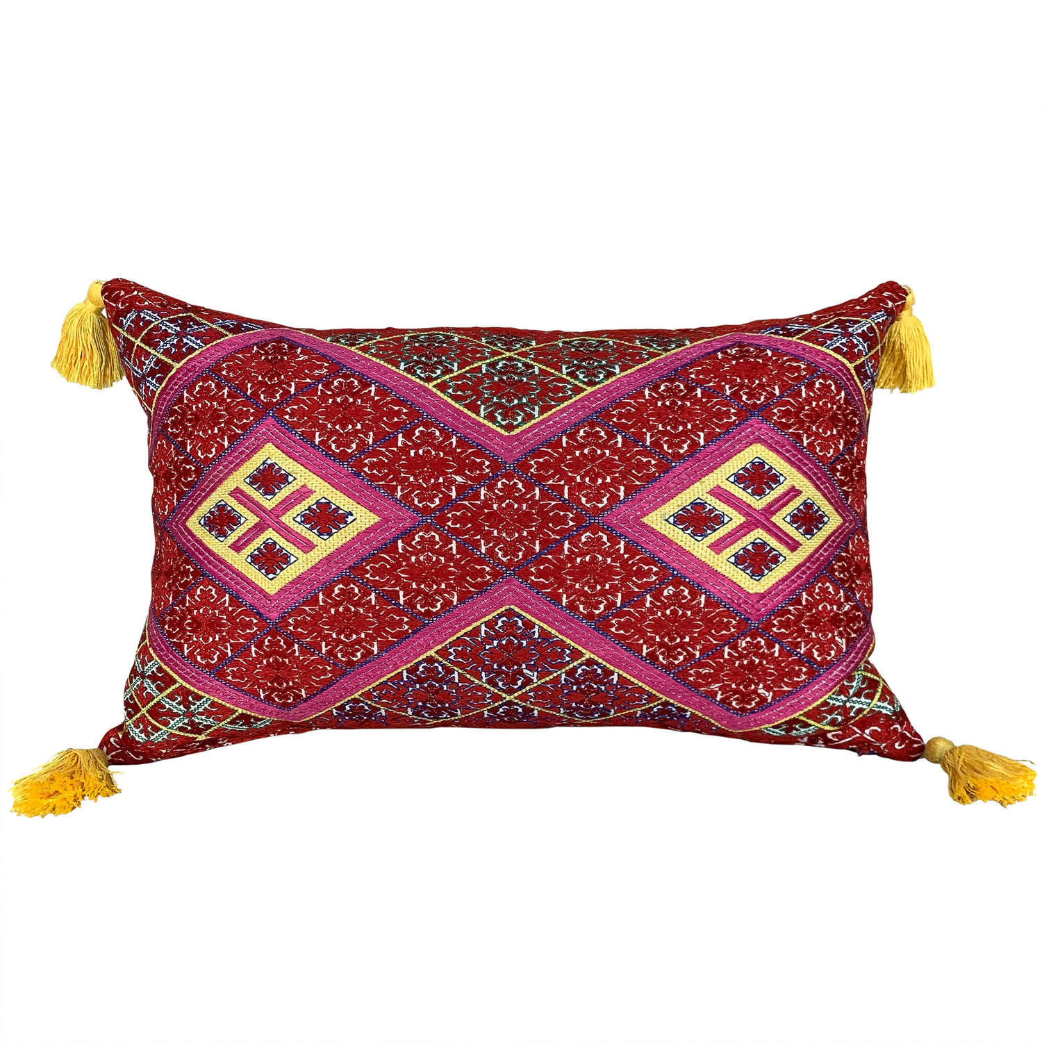 Swat cushion with yellow tassels